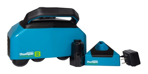 Thumper Lithium8 cordless battery powered professional percussive massager comes with a battery and a charging kit